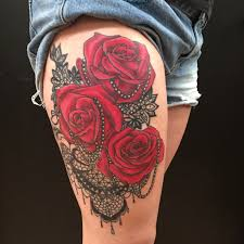 red rose pearl and lace thigh tattoo by colby morton working