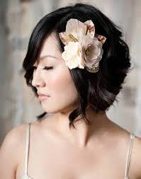wedding hairstyles ideas side ponytail wavy bob side bangs short