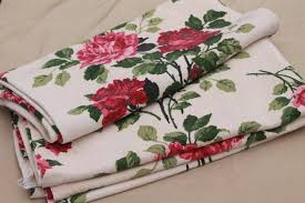 shabby cottage chic roses print fabric curtain panels vintage