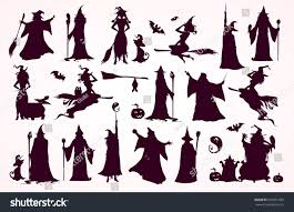 antique halloween flying witch background happy halloween collection headsbodies witch attributes stock