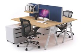 2 person office workstation double sided divider white leg