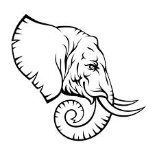 black outline elephant head tattoo stencil