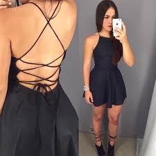 a line spaghetti straps lace up satin little black dress