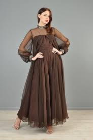 60s jumpsuit 60s brown chiffon beaded palazzo jumpsuit dress bustown modern