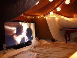 blankets and lights living room fort