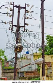 Messy Wires Messy Electric Current Transformer In Bangkok Thailand Stock