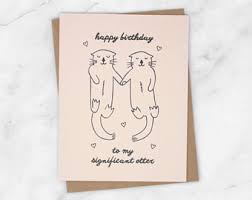 otter birthday card etsy