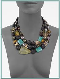 beaded stone necklace images Alexis bittar three row semi precious multi stone necklace the png