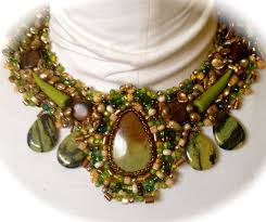 yellow turquoise necklace images Boho beaded necklace green and brown beaded collar yellow jpg