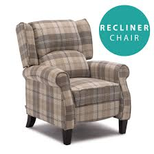 eaton wing back fireside check fabric recliner armchair sofa