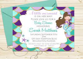 glitter mermaid baby shower invitation turquoise and purple
