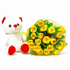 buy twenty yellow roses with teddy at best price in