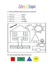 esl kids worksheets colors u0026 shapes