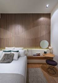 modern and futuristic wood paneling bedroom