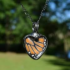 glass butterfly necklace images Monarch butterfly necklace glass heart jewelry real butterfly jpg