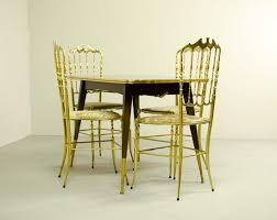 midcentury italian dining set of 4 brass chiavari chairs and