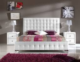 Made In Spain Leather Elite Platform Bed Milwaukee Wisconsin ESFCAR - White tufted leather bedroom set