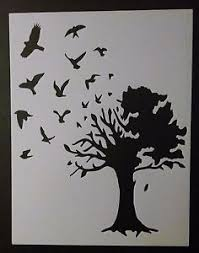 birds flying out large country tree 8 5 x 11 custom stencil fast