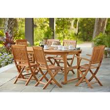 7 Pc Patio Dining Set - hampton bay adelaide eucalyptus 7 piece patio dining set shop