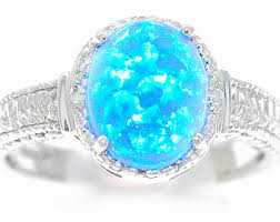 blue opal engagement rings black opal ring 925 sterling silver rhodium