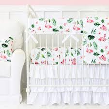 White Ruffle Crib Bedding Tropical Floral Flamingo S White Ruffle Baby Bedding Caden