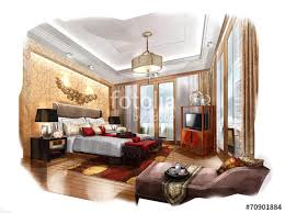 interior design sketch sketch design bedroom interior design hotel stock photo and