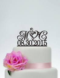 wedding cake topper initials cake topper with date custom cake