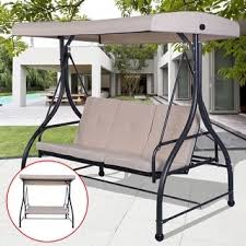 costway converting outdoor swing canopy hammock 3 seats patio deck