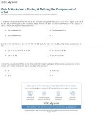 quiz u0026 worksheet finding u0026 defining the complement of a set