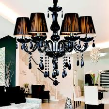 modern luxury black crystal chandelier lighting fixture pendant