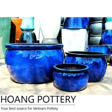 aqua blue ceramic glazed flower pots planters garden hpan052