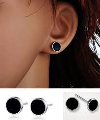 black earrings studs fashion popular black plastic stud earrings for men and women