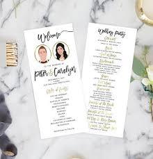 programs for wedding wedding ceremony programs with wedding party portraits
