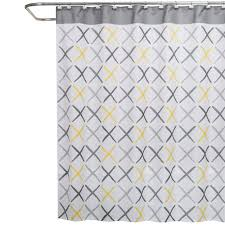 Yellow And White Shower Curtain Saturday X 70 In W X 72 In L Fabric Shower Curtain