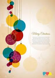 christmas greeting card template with colorful christmas balls