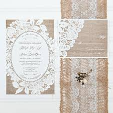 Invitations And Rsvp Cards Burlap And Lace Wedding Invitation Set With Rsvp Cards And