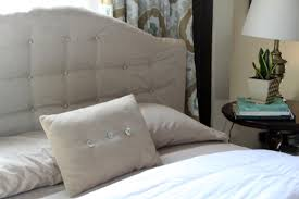 Tufted Linen Headboard by Office Makeover A New Tufted Linen Headboard Pepper Design Blog