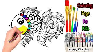 colouring pages for children how to draw a fish rainbow and