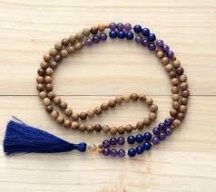 amethyst necklace beads images 108 handmade mala beads robles wood amethyst lapis lazuli necklace jpg