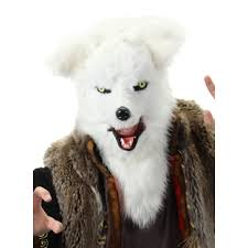white fox mouth mover mask furry cosplay head fox mask