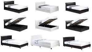 faux leather ottoman storage or low frame bed black brown white