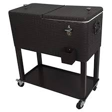 Patio Cooler Table Hio 80 Qt Outdoor Patio Cooler Table On Wheels With