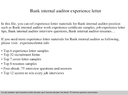 Sample Resume For Internal Auditor by Bank Internal Auditor Experience Letter 1 638 Jpg Cb U003d1409564343