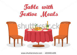 festive meals on served table stock vector 481681486