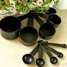 cup cuisine black plastic measuring cups 10pcs lot measuring spoon kitchen tools