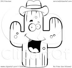 cartoon clipart of a black and white happy cactus wearing a hat
