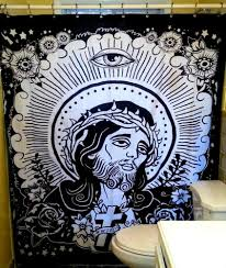 Frankenstein Shower Curtain by Amazon Com Too Fast Jesus Bathroom Shower Curtain Home U0026 Kitchen