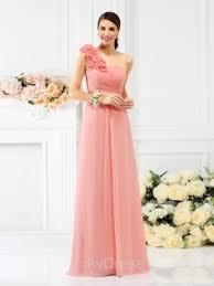 etui linie one shoulder trager knielang satin brautjungfernkleid p664 rosa kleider für hochzeitsgäste vickydress