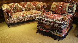 Antique Chesterfield Sofas by Kelim Kilim Upholstered Antique Chesterfield By Leather Chairs Of