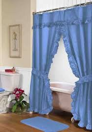 Blue Swag Curtains Ruffled Swag Shower Curtain With Valance Tie Backs Light